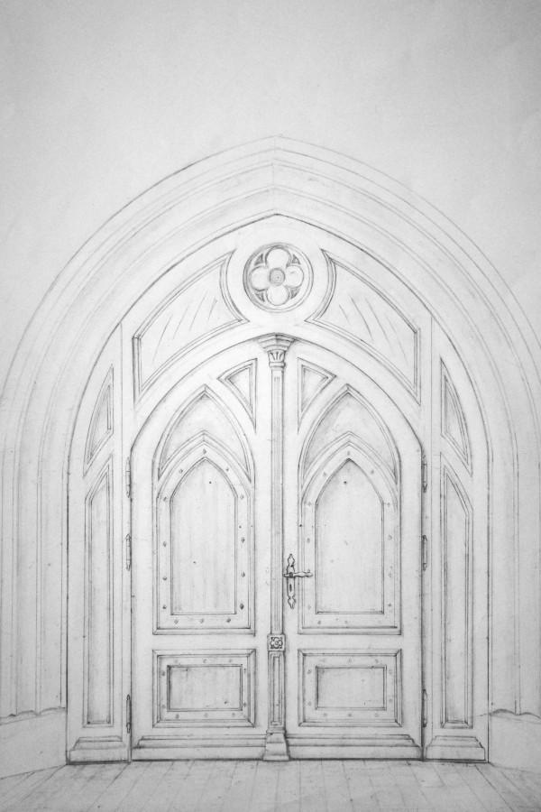 Odręczny projekt drzwi sakralnych.